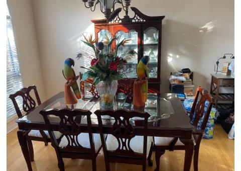 China Cabinet, table and six chairs